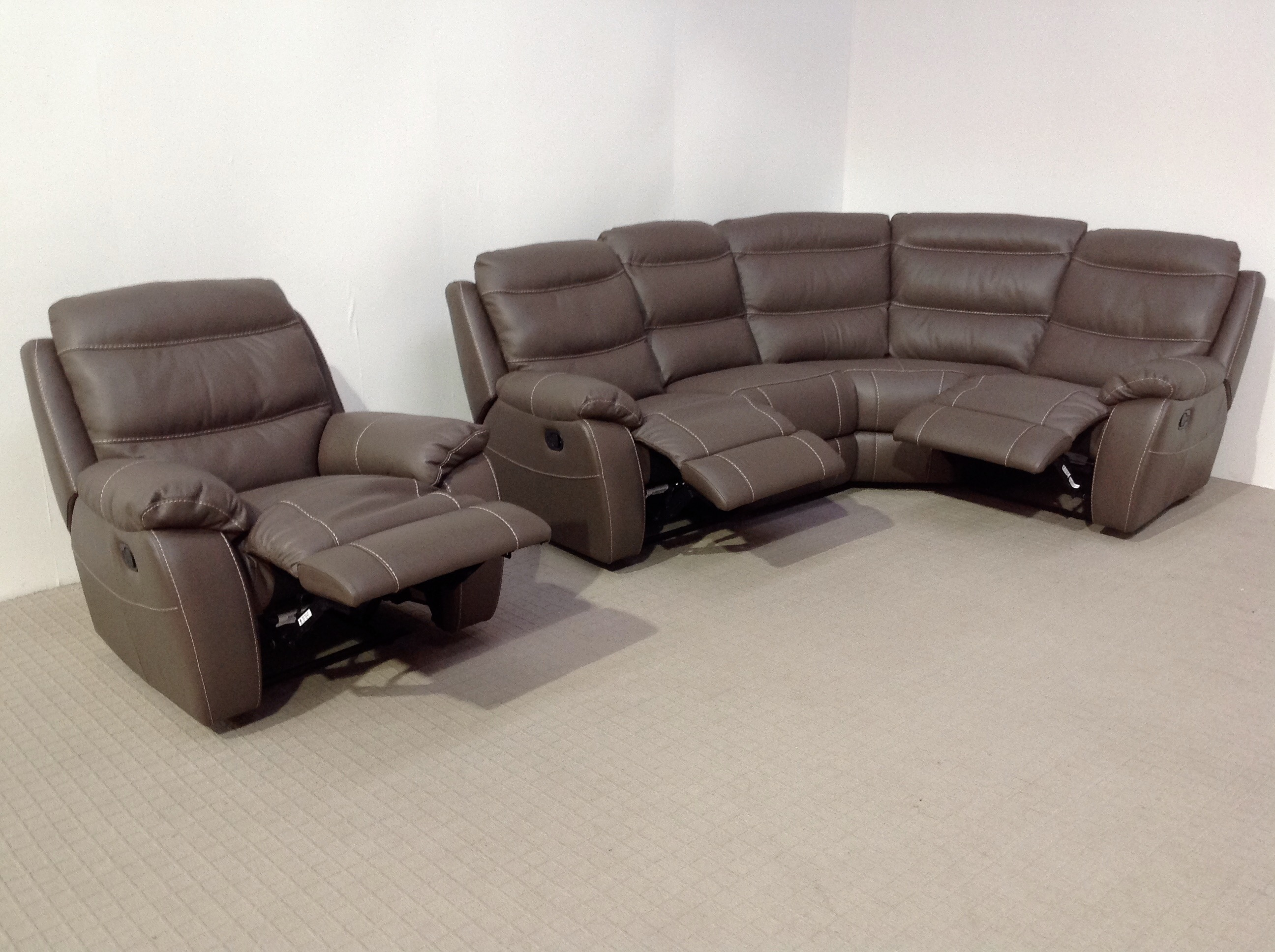 softaly leather reclining corner sofa and reclining matching chair