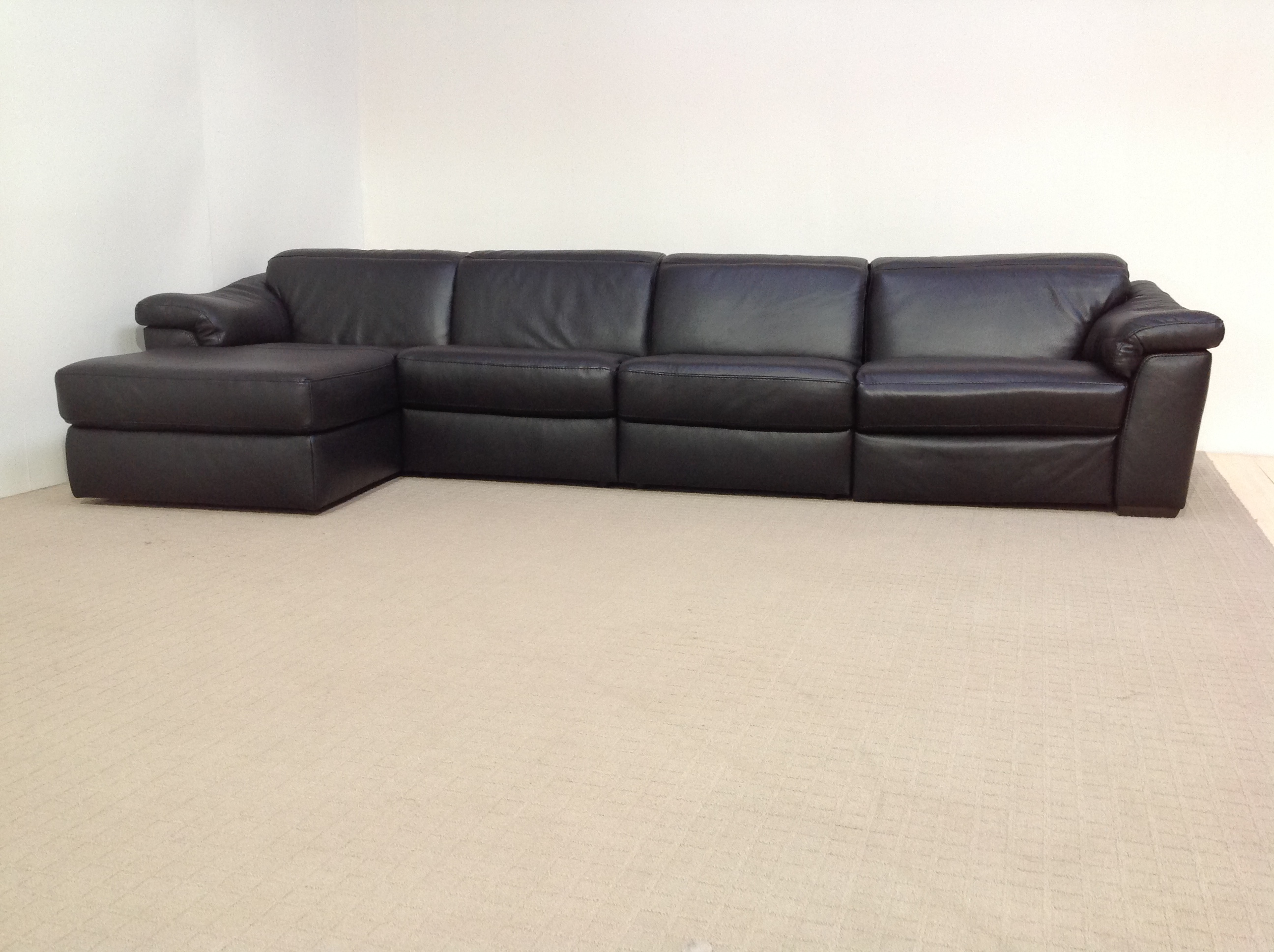 Natuzzi edition sensor b760 power black full leather 4 for 4 seater chaise sofa