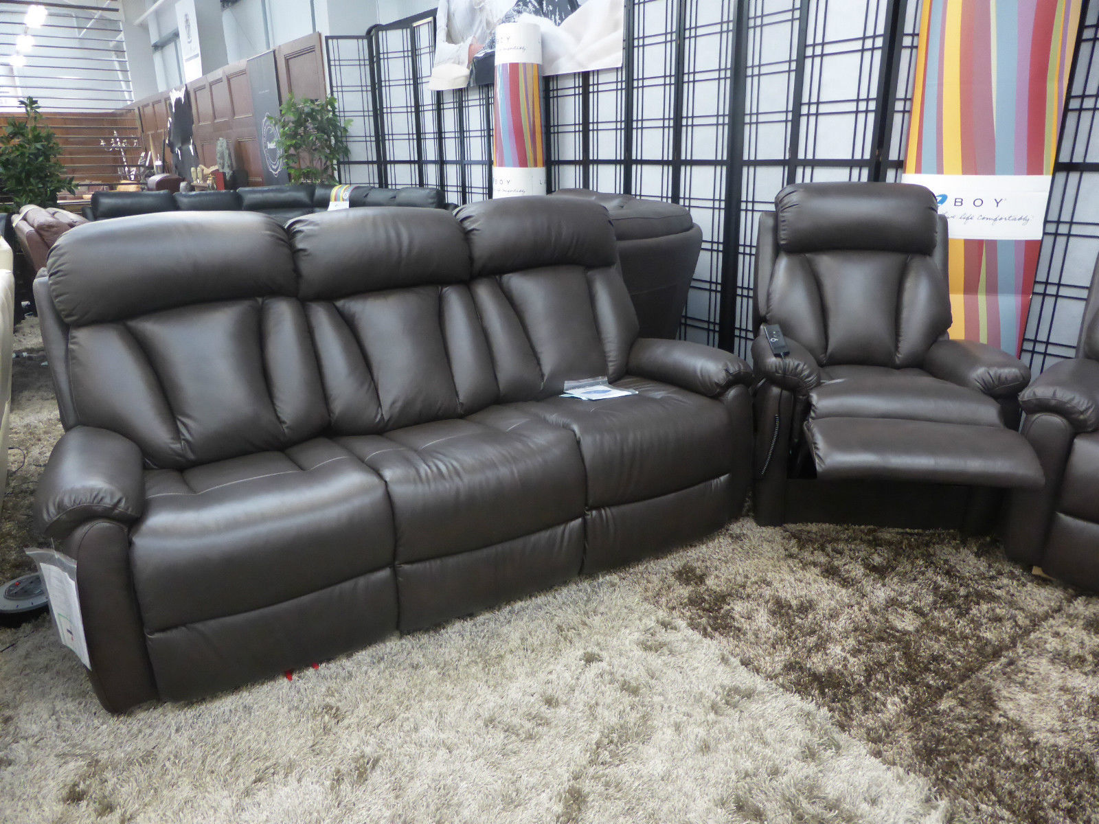 LAZY BOY GEORGIA BROWN 3 SEATER AND RISE AND RECLINER ...