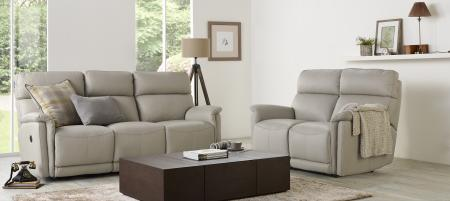La-Z-Boy Jacksonville Leather 3 & 2 Seater power recliners-Grey