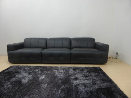 Natuzzi Sample Anthracite Leather All 3 Seats Power