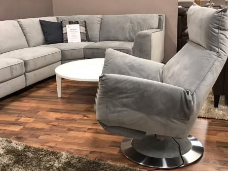 MIZZONI ITALIA GREY FABRIC POWER RECLINER SWIVEL CHAIR