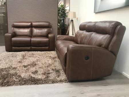 Mizzoni Avo Full leather 3 Seater Power Recliner & 2 Seater Static