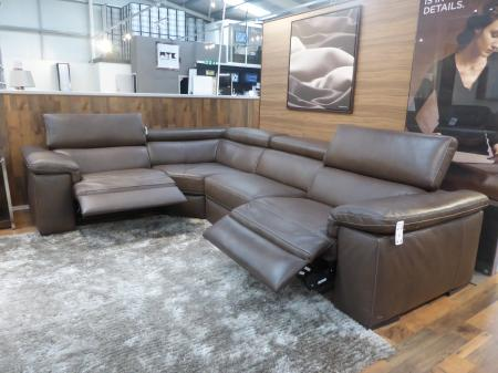 NATUZZI EDITIONS DOMENICA LEATHER POWER RECLINING CORNER SOFA-GREY