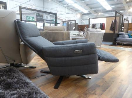 NATUZZI EDITIONS SOFIA TWIN MOTOR FABRIC RECLINER SWIVEL CHAIR