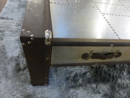 Aluminium & Faux Leather Aviator Style Coffee Table Drawers