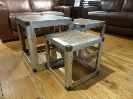 Urban Chic aluminium & reclaimed wood set of 3 Coffee Tables