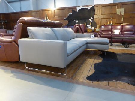 NATUZZI PRIVATE LABEL POTENZA ITALIAN LEATHER 3 SEATER CHAISE SOFA