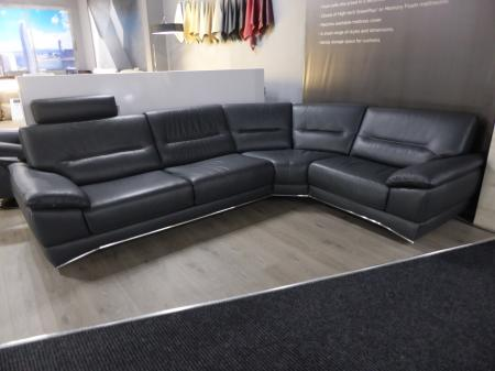 Natuzzi Editions Corsica Italian Grey Leather Right Hand Corner Sofa