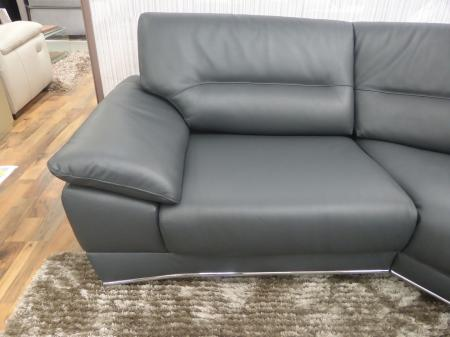 Natuzzi Editions Corsica Italian Grey Leather Left Hand Corner Sofa