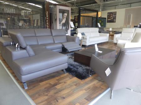 NATUZZI ARTISAN POWER RECLINING CHAISE SOFA & MATCHING FEATURE CHAIR
