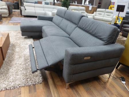 Natuzzi Pelle twin Power reclining Grey fabric chaise sofa