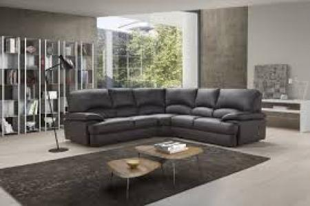 Tancredi Hand made in Italy full black leather high back corner sofa