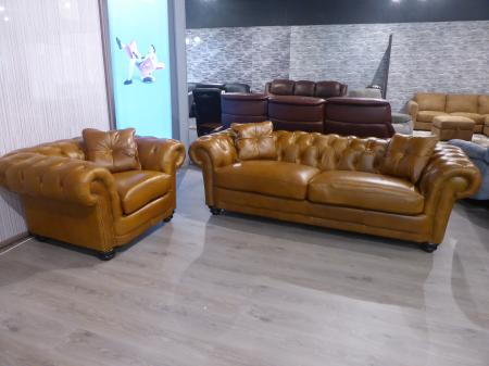 Charles Morgan soft leather chesterfield sofa set