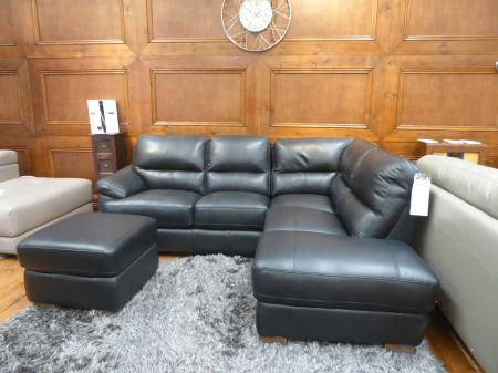 Mizzoni Italia Amalfi black leather corner sofa