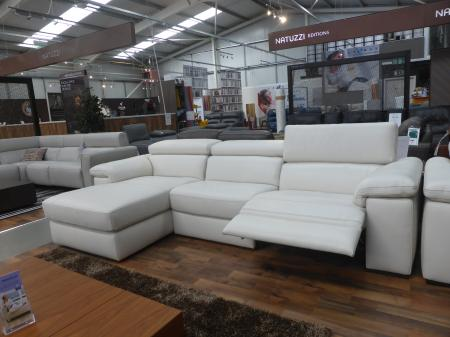 Natuzzi Solare power reclining 3 seater chaise sofa & static 2 seater