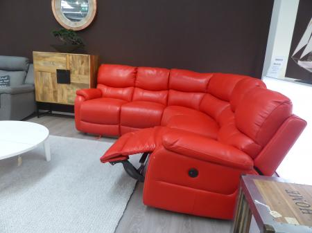 Siena thick leather sunburst red manual reclining corner sofa