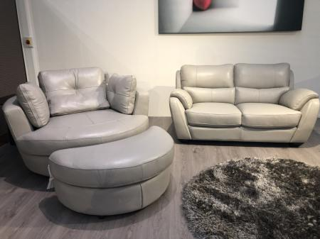 Beautiful thick Grey protecta leather 2 seater with cuddle chair
