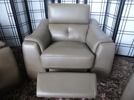 Enzo Grey Leather Static 3 Seater - Power Reclining 2 Seater & Chair