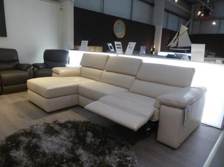 Natuzzi Solare Leather power reclining 3 seater chaise sofa