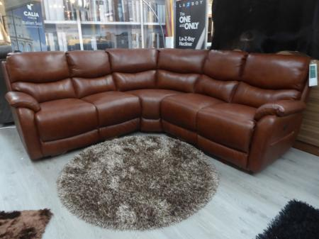 Toranto power reclining leather high back pocket sprung corner sofa