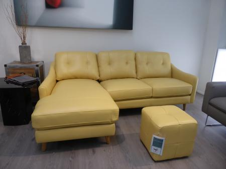 Daisy thick leather right hand facing chaise sofa with footstool