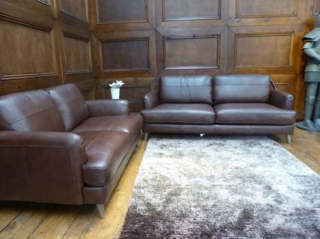Agrigento thick family friendly leather 3 & 2 seater sofas