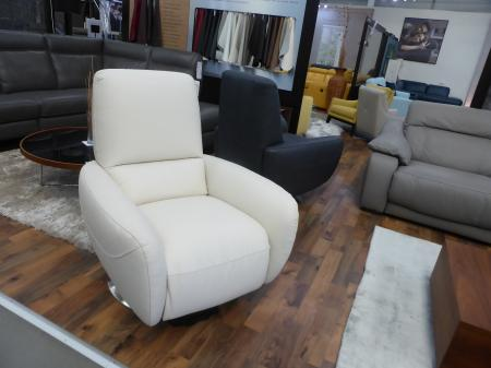 Natuzzi Genny Leather swivel recliner chair in Grey or Ivory