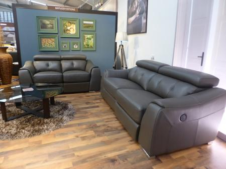 Ancona power reclining thick Grey leather 3 power  & 3 seater manual