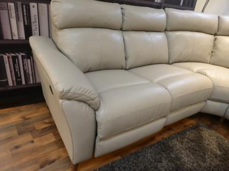 Bolzano Grey leather power reclining corner sofa with matching chair