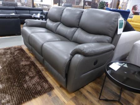 Siena Grey leather power reclining 3 seater with Dynamic cuddle chair
