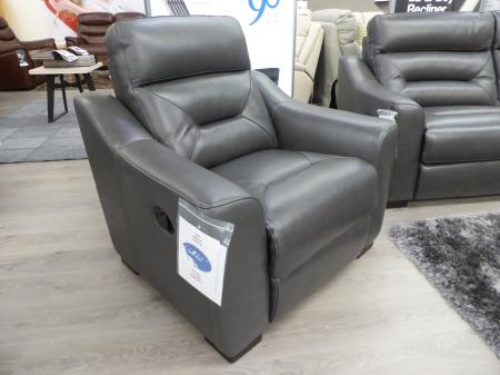 La-Z-boy Tara Charcoal Grey leather 3 & 2 chairs manual recliners