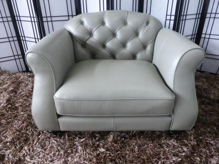 Penelope beautiful Grey leather 3 seater matching chair and footstool