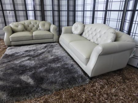 Penelope beautiful Chesterfield Grey leather 3 & 2 seat with footstool