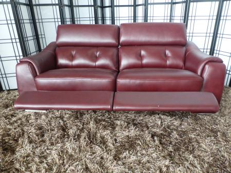 Enzo full leather 3 seater manual recliner sofa with headrests