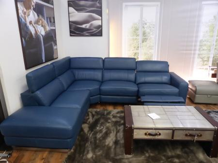 Iconica L/H facing thick Leather power reclining corner sofa