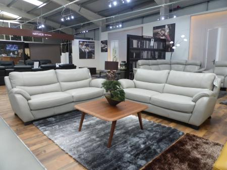 Dynamic pocket sprung Grey leather 3 & 3 seater sofa