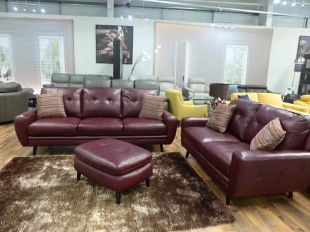 Oslo full leather roasted red 3 & 2 seater with matching footstool