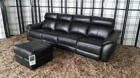 Siena thick black leather large 4 seater with 2 power recliners