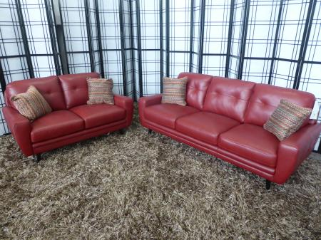 Oslo red full leather 3 & 2 seater modern sofa