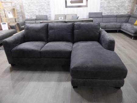Jasper Grey Natural leather 3 seater chaise sofa