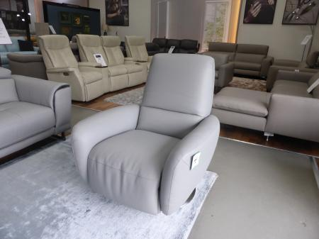 NATUZZI GENNY Grey Leather push back recliner swivel chair