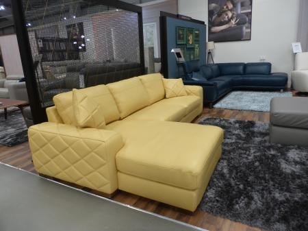 Bello thick leather pocket sprung chaise sofa