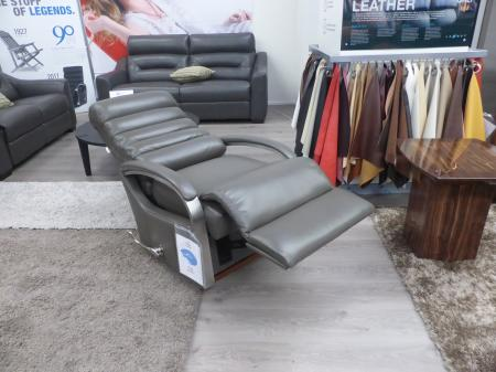 La-z-Boy Harvey Grey Leather Rocker recliner chair