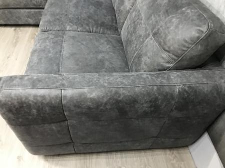 Jasper Grey Natural leather arm to arm corner sofa