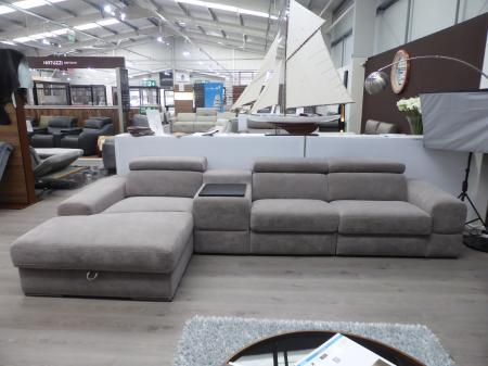 Plaza soft fabric power reclining sofa with storage facility