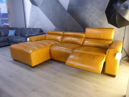 Africano soft leather power reclining chaise sofa