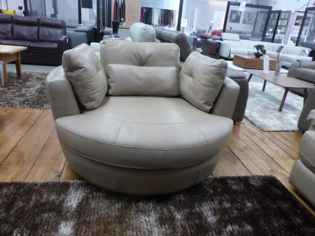 Amalfi thick leather corner sofa with cuddle chair & footstool