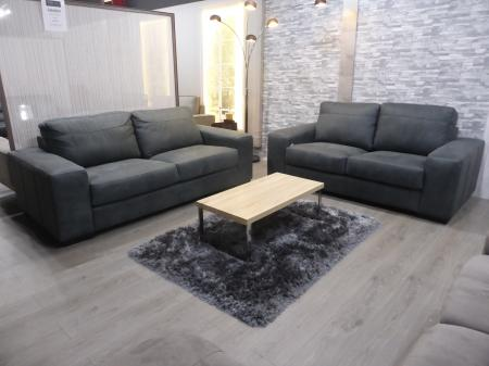 Caledon beautiful Natural thick Grey leather 3 & 2 seater sofa