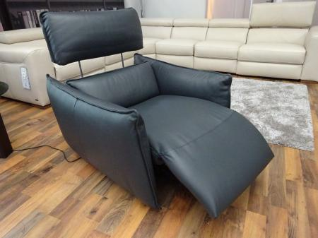 Natuzzi Stupore Grey Leather power reclining large sofa & chair